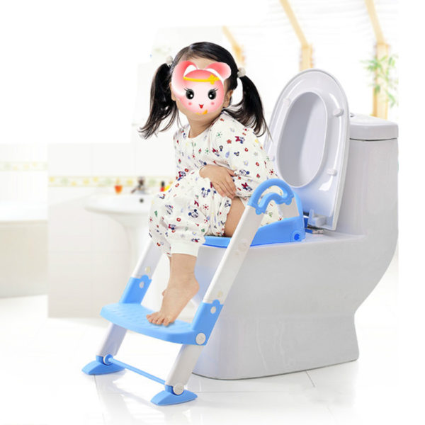 Potty Seat Ladder Baby Toilet Trainer Chair Seat Toddler Potty Child Step Up ladder Fold