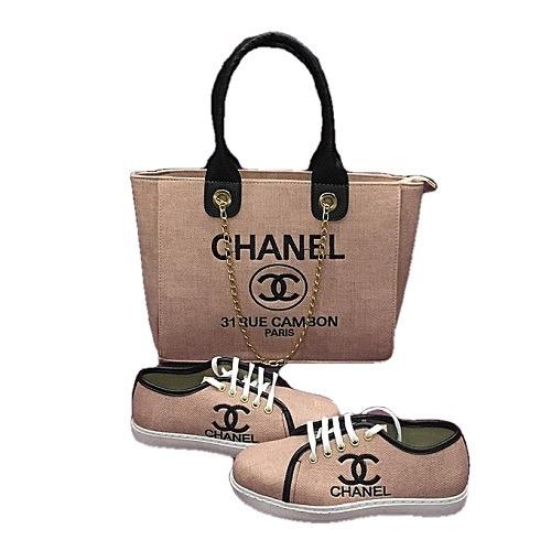 ChanelWomenSneakersAndRueCambonParisHandbagSet&#;Peach